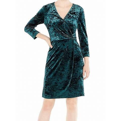 Maggy London Women's Dress Green Size 10 Sheath Velvet Surplice