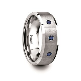 Thorsten Tungsten Satin Finished Center Polished Beveled Edges Men's Wedding Band with 3 Blue Sapphires - 8mm NAUTILUS