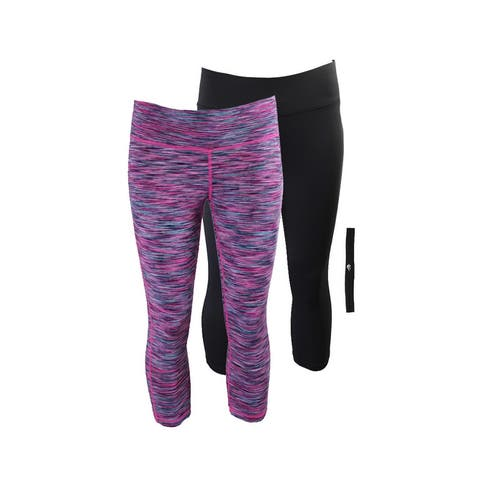 Ideology Pink Multi Black Cropped Leggings And Headband Gift Set XS