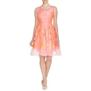 Elie Tahari Womens Jessy Casual Dress Textured Box Pleat