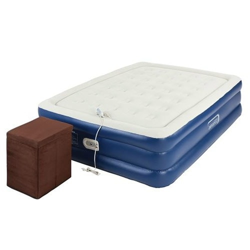 Aerobed 2000014113 Queen Raised Inflatable Air Bed Mattress with Ottoman - Blue