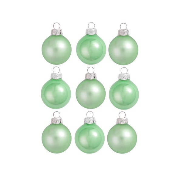 """9ct Matte and Pearl Mint Green Glass Ball Christmas Ornaments 2"""" (50mm)"""