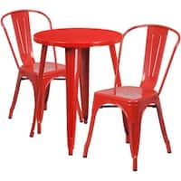 Brimmes 3pcs Round 24'' Red Metal Table w/2 Cafe Chairs