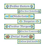 Club Pack of 12 Blue and Yellow Oktoberfest Sign Cutout Decorations 24""