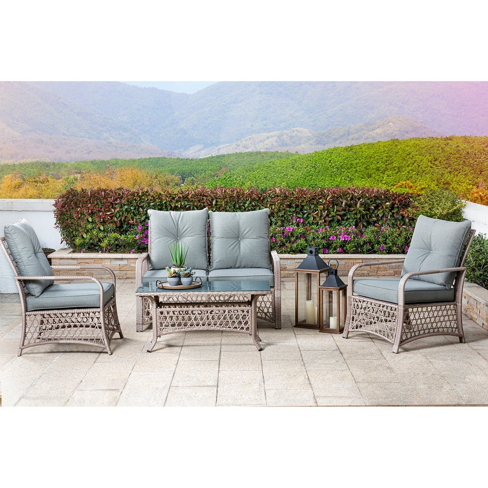 Glitzhome 4 Piece Outdoor Patio Wicker Chair Set