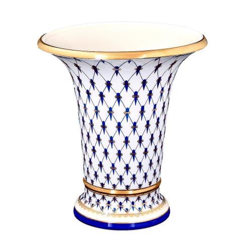 "Imperial Porcelain Factory 8"" Cobalt Netting Vase"
