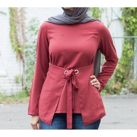 Verona Womens Blouse Rust Red Size XXL Plus Tie Belt Grommet Boatneck