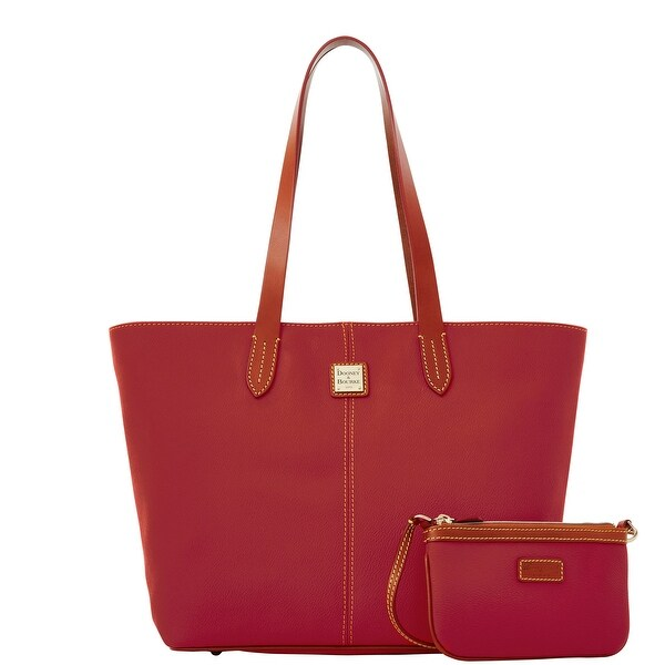 Dooney & Bourke Eva Large Zip Shopper and Wristlet (Introduced by Dooney & Bourke at $268 in Jan 2017) - Cherry