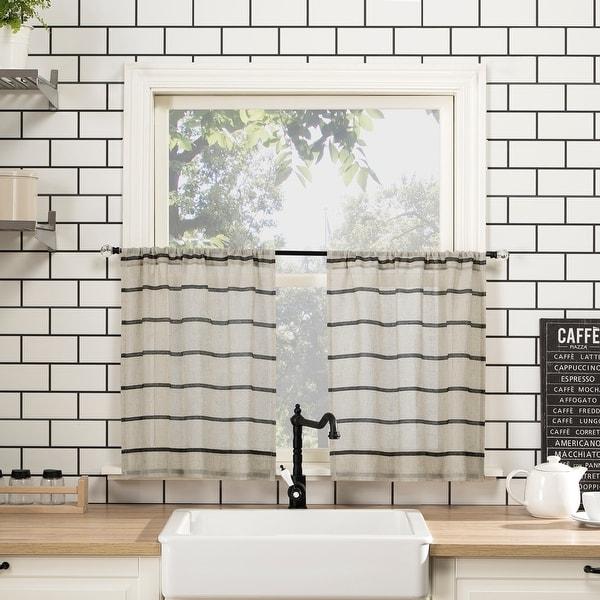 Clean Window Twill Stripe Anti-Dust Linen Blend Sheer Cafe Curtain Pair. Opens flyout.