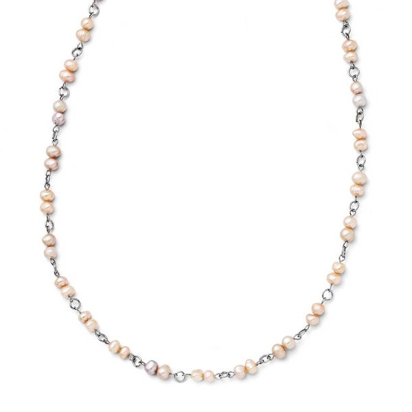 Chisel Stainless Steel Slip-on Freshwater Cultured Pearl Necklace - 34 in