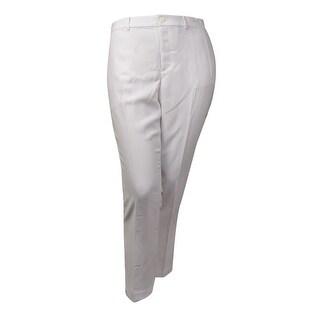 Lauren Ralph Lauren Women's Solid Woven Crepe Dress Pants (16, White) - White - 16