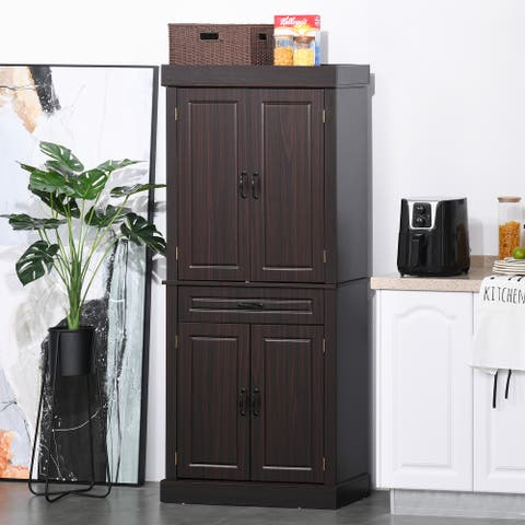 """HOMCOM 71"""" Tall Freestanding Kitchen Pantry with 4 Doors, 2 Large Cabinets and 1 Wide Drawer for Kitchen, Espresso"""