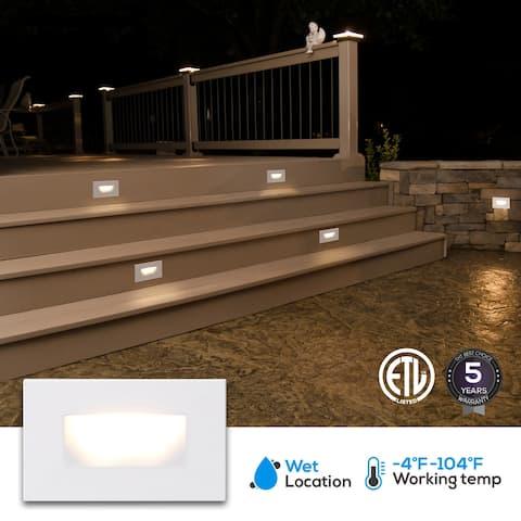 Indoor/Outdoor 3 Pack Stair Light, LED Step Light, White