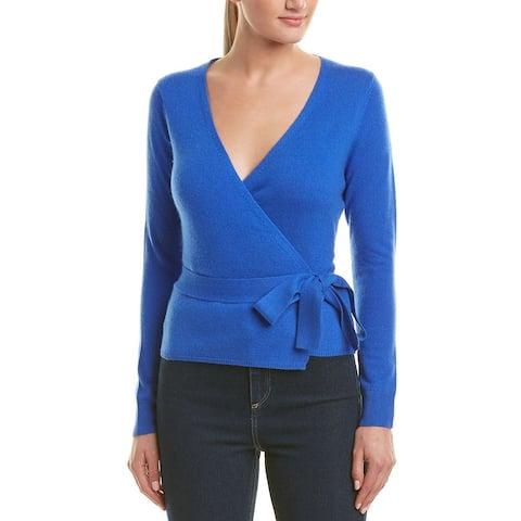 Diane Von Furstenberg Women's Wrap Wool Sweater, Royal Blue, Small