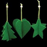Club Pack of 15 Forest Green Tree, Heart And Star 3D Felt Ornaments