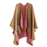 QZUnique Women's Sweater Shawl Sleeve Cardigan Cloak Loose Poncho Cape