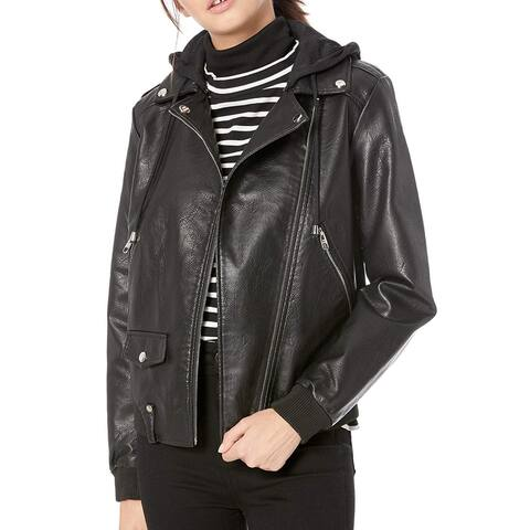 Steve Madden Women Jacket Solid Black Size XL Faux Leather Motorcycle