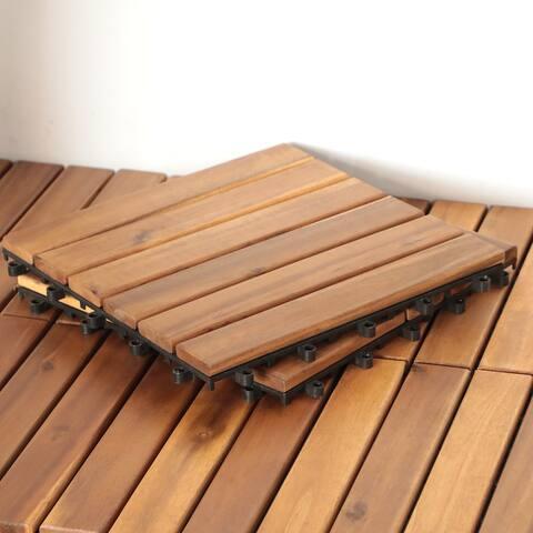 10 PCS Wood Deck Interlocking Tiles