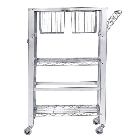 """34.25"""" Silver Talvion Contemporary Serving Cart with Open Frame"""