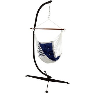 Tufted Victorian Hammock Swing with Stand - Navy Blue