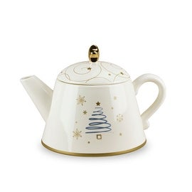Snowlit Settings Collection Holiday Ceramic Teapot by Russ Berrie