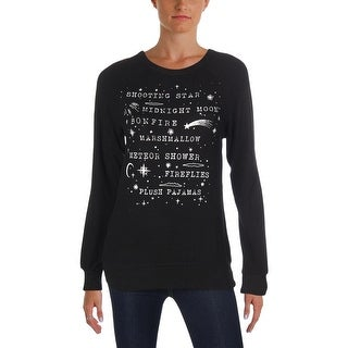 David Lerner Womens Midnight Crewneck Sweater Graphic Ribbed Trim