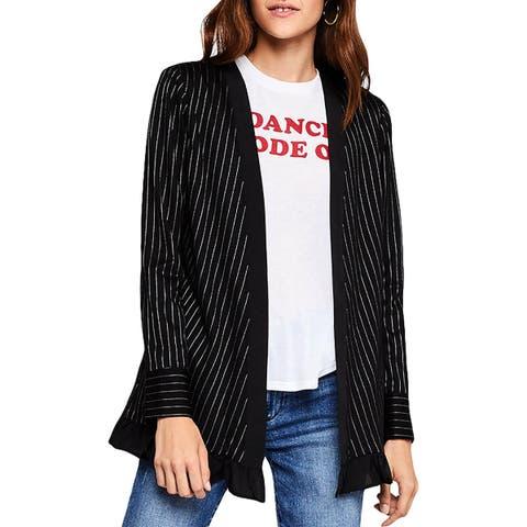BCBGeneration Womens Collarless Blazer Woven Pinstripe - M