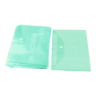 School Plastic A4 Paper File Bag Document Holder Green 0.08cm Thickness 20pcs