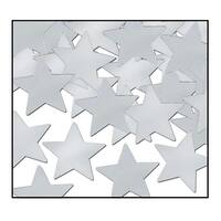 Club Pack of 12 Silver Fanci-Fetti Star Celebration Confetti Bags 1 oz.