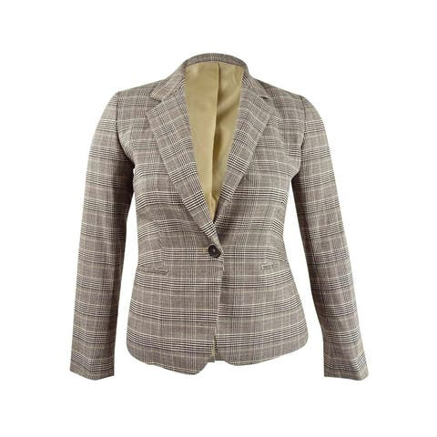 Bar III Womens One-Button Plaid Blazer (10, Camel Multi)