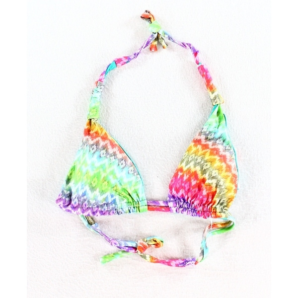 Vitamin A NEW Green Womens Size Small S Bikini Top Rainbow Printed Swimwear