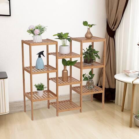 100% Bamboo High-Grade Plant Shelf Multi - Functional 9-Layer Shelf Flower Pot Shelf Display Shelf