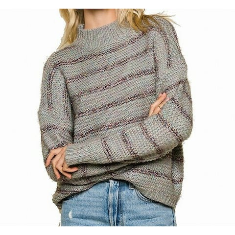 Raga Gray Women Size Small S Striped Mock Neck Turtleneck Sweater