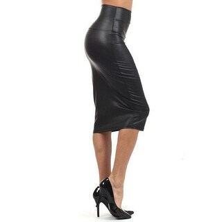 Funfash Plus Size Clothing for Women Black Faux Leather Knee Length Pencil Skirt