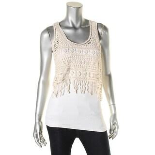Denim & Supply Ralph Lauren Womens Crop Top Crochet Fringe - s