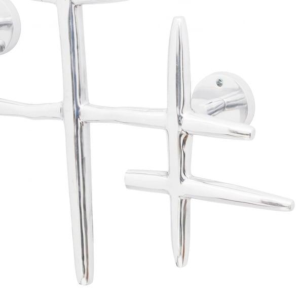 Metal Aluminium Silver Triple Coat Hat Wall Hook