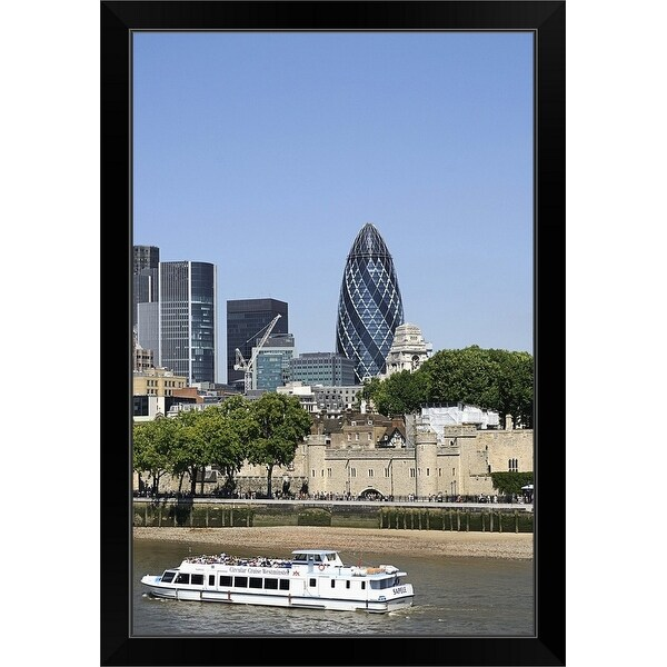 """River Thames and London skyline, England"" Black Framed Print"