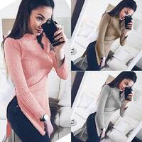Fashion Split Long Knitted Sweater Solid Color Turtle Neck Slim Women Pullover