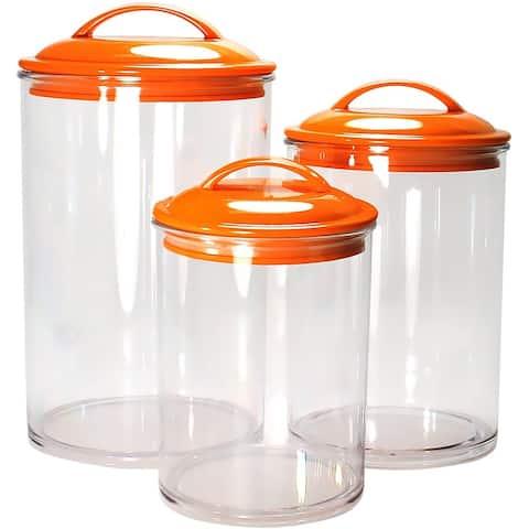 Calypso Basics by Reston Lloyd Acrylic Storage Canisters, Set of 3, Orange - 5.5 x 5.5 x 9.5 inches