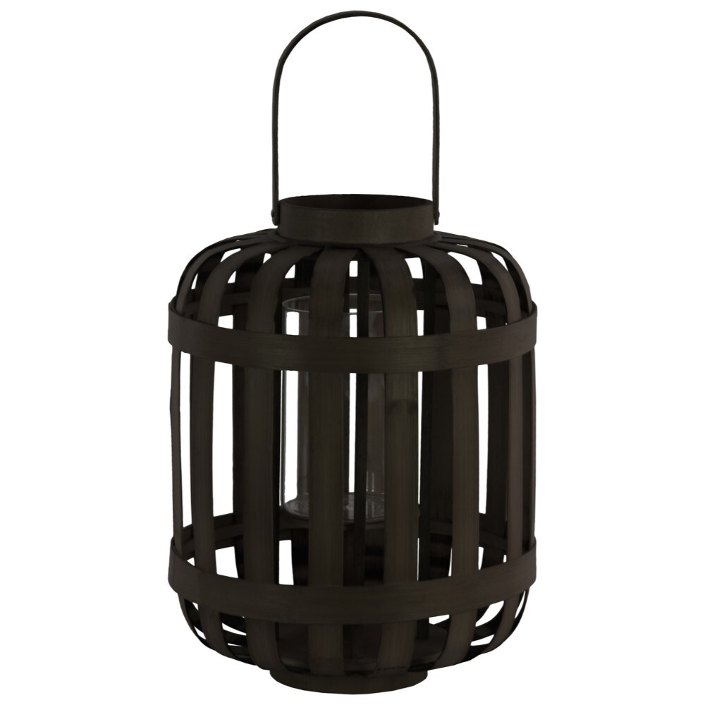 Wood Round Lantern with Lattice Design Body and Handle, Black