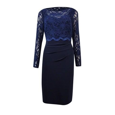Lauren Ralph Lauren Women's Lace Popover Ruched Jersey Dress