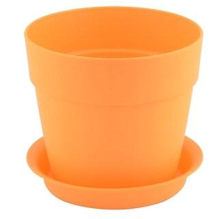 Home Balcony Plastic Round Design Flower Cactus Plant Planter Pot Tray Orange