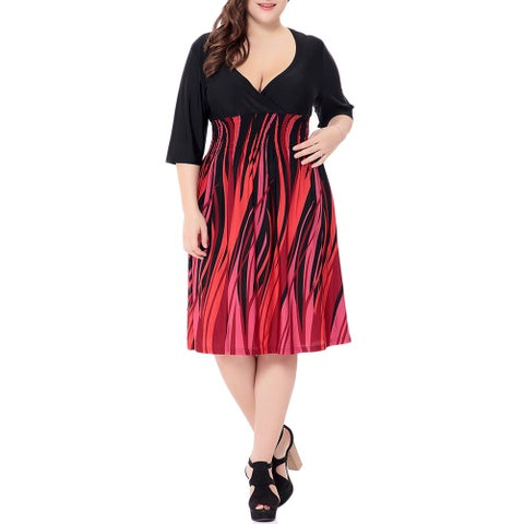 QZUnique Women's Plus Size Printing Midi Dresses V Neck Medium Sleeves Beach Evening Party Skirt