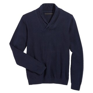 Sean John NEW Blue Mens Size Medium M Cable Knit Shawl Collar Sweater