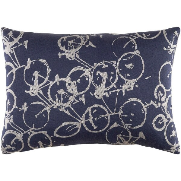 "19"" Crazed Cycling Navy Blue and Light Gray Decorative Throw Pillow"
