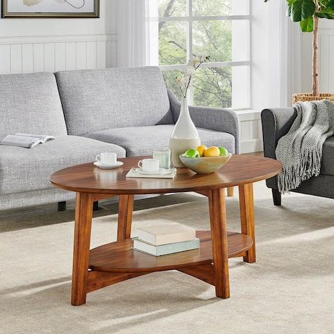 Carson Carrington Yttertanger Oval Warm Chestnut Wood Coffee Table