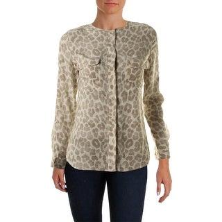 Equipment Femme Womens Silk Long Sleeves Button-Down Top - XS