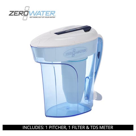 ZeroWater 12-Cup Ready-Pour Pitcher with Free TDS Meter ZD-012RP, Blue