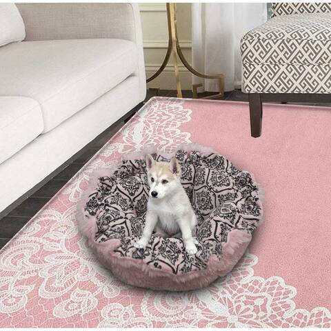 """Bessie and Barnie Ultra Plush Bubble Gum/ Versailles Pink Luxury Deluxe Dog / Pet Cuddle Pod Bed - 30"""""""
