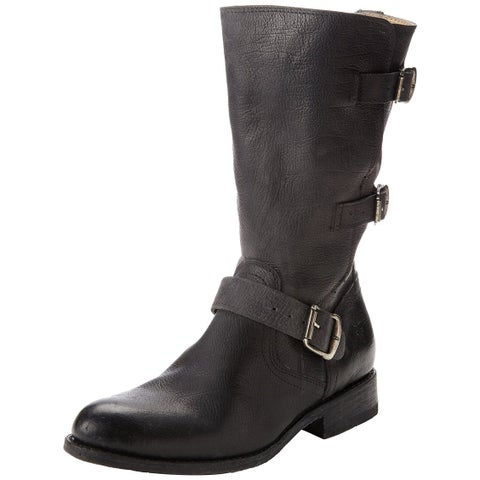 Frye Womens Jayden Moto Cuff Leather Closed Toe Mid-Calf Motorcycle Boots